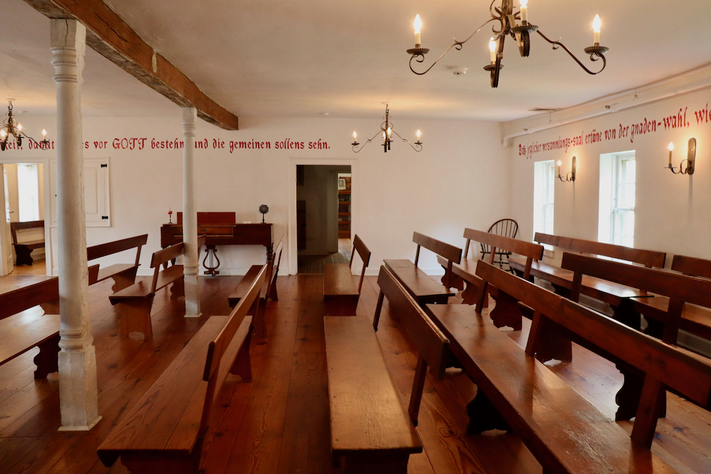 Inside of Gemeinhaus built in 1741. Now it is the Moravian Museum. Original benches from the late 1700s
