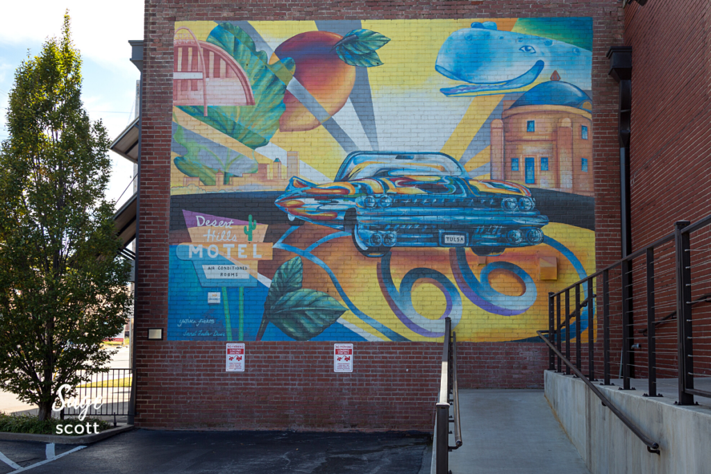 Route 66 mural at Mother Road Market in Tulsa, Oklahoma.