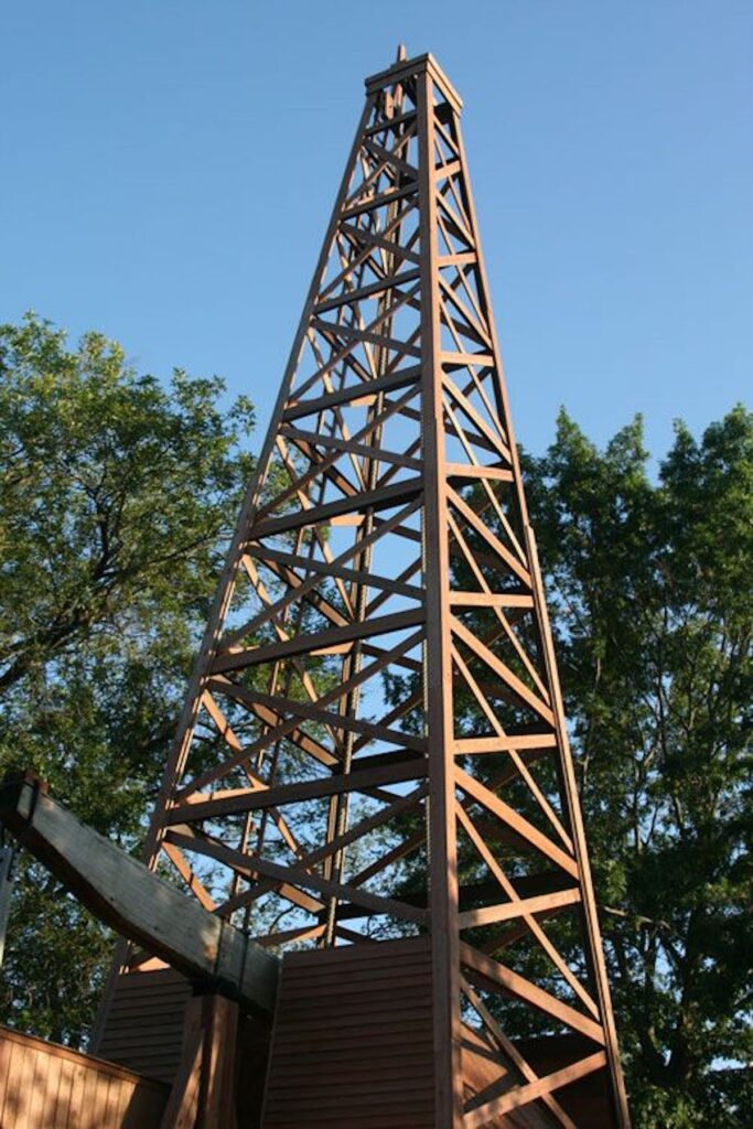 The Nellie Johnson was Oklahoma's first commercial oil well in downtown Bartlesville.