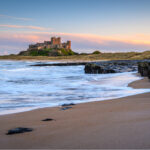 Bamburgh Castle in Northumberland County, England.