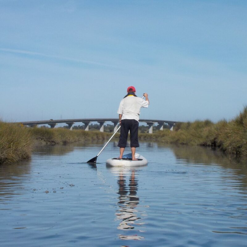 The author on a paddle board in Eureka, California.