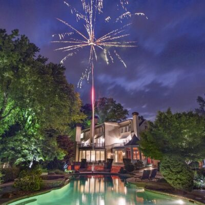 The Estate at Cherokee Dock rental with fireworks above