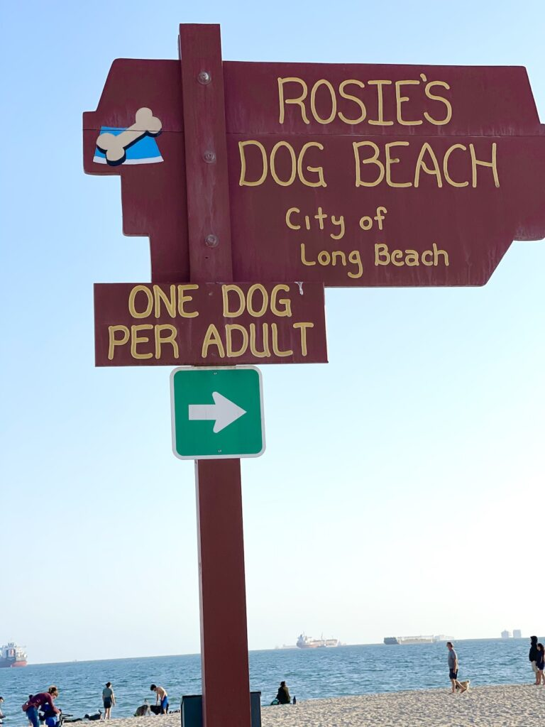 Sign for Rosie's Dog Beach at city of Long Beach, California.