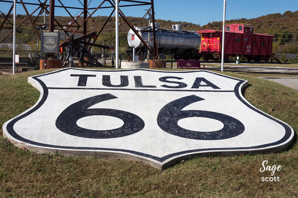 Route 66 sign, Route 66 historical village, Tulsa, Oklahoma.