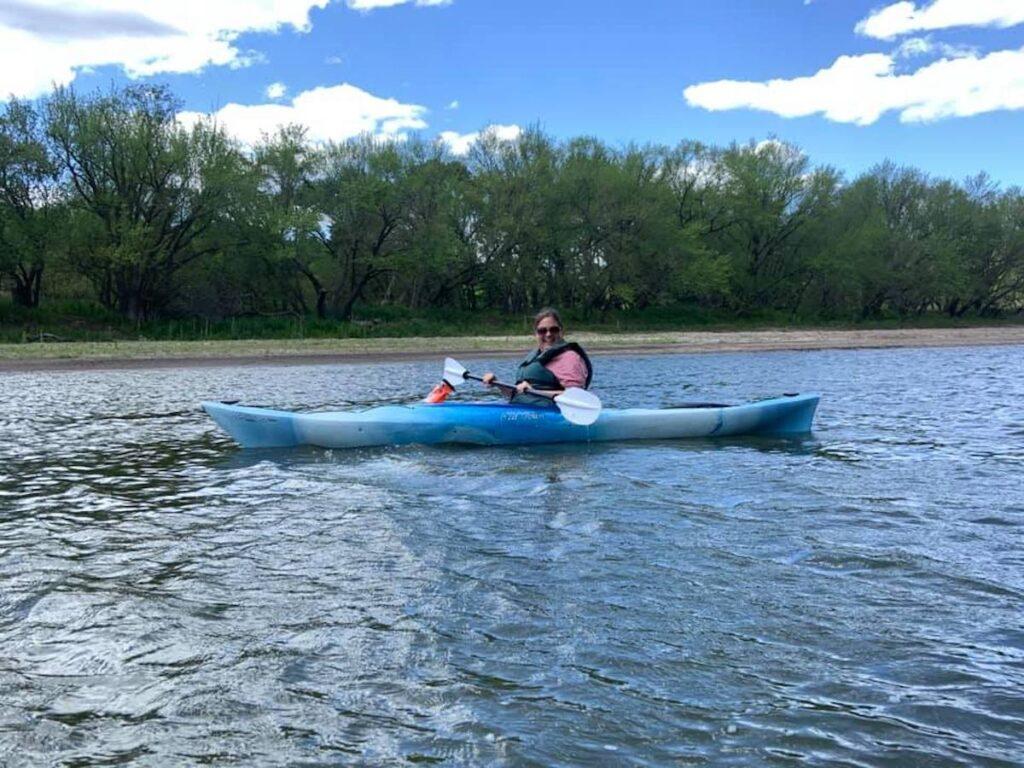 Sara Kayaking Des Moines River Fort Dodge, Iowa.
