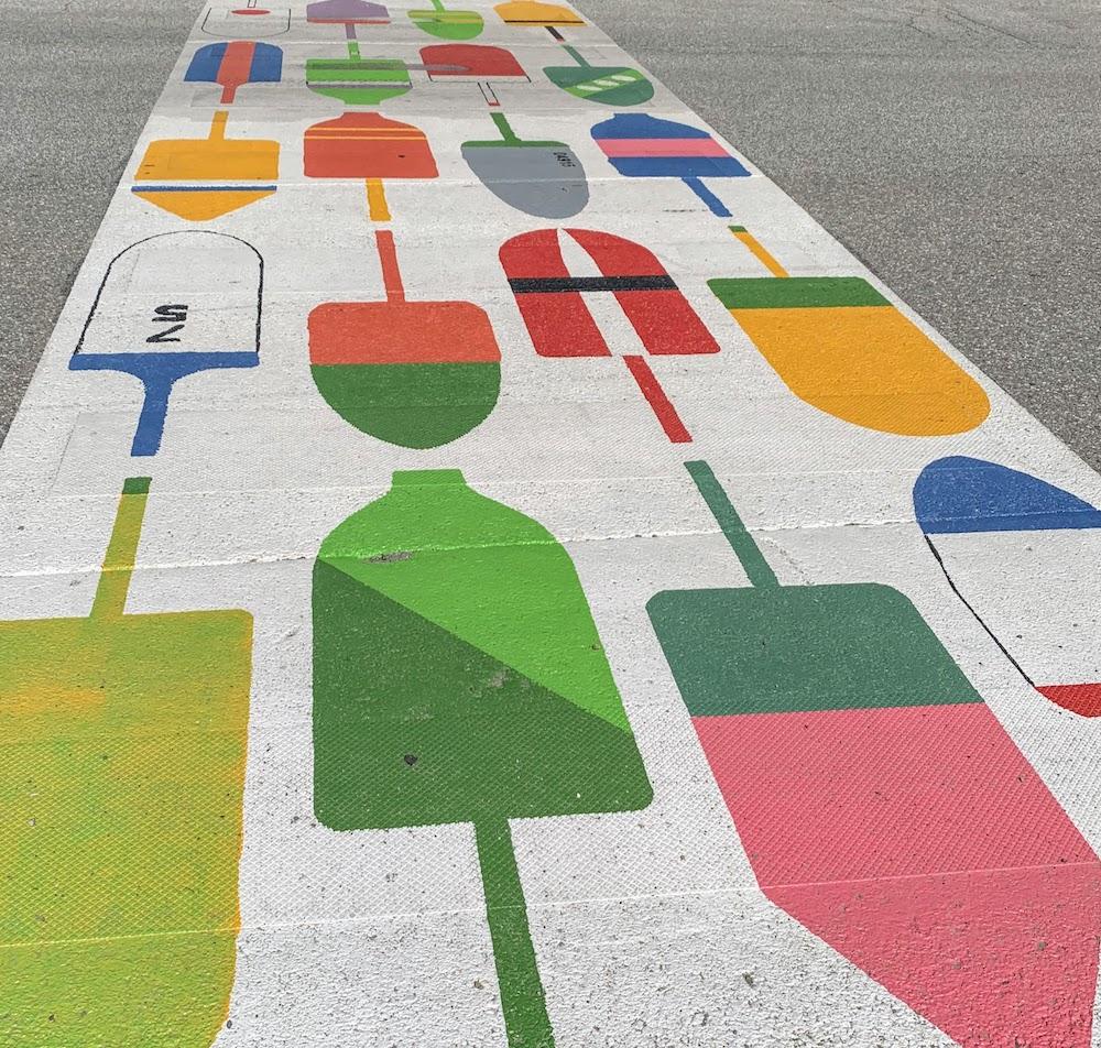 colorful sidewalk in Belfast, Maine