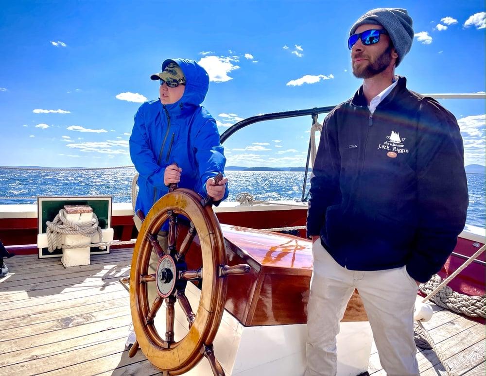 Steering The Riggin windjammer in Maine