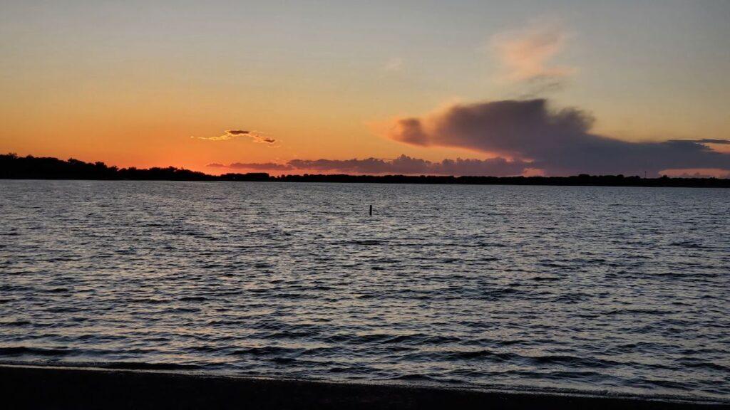 Sunset in clear Lake, Iowa.