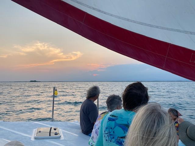 Sailing at sunset, Ambergris Caye, Belize.