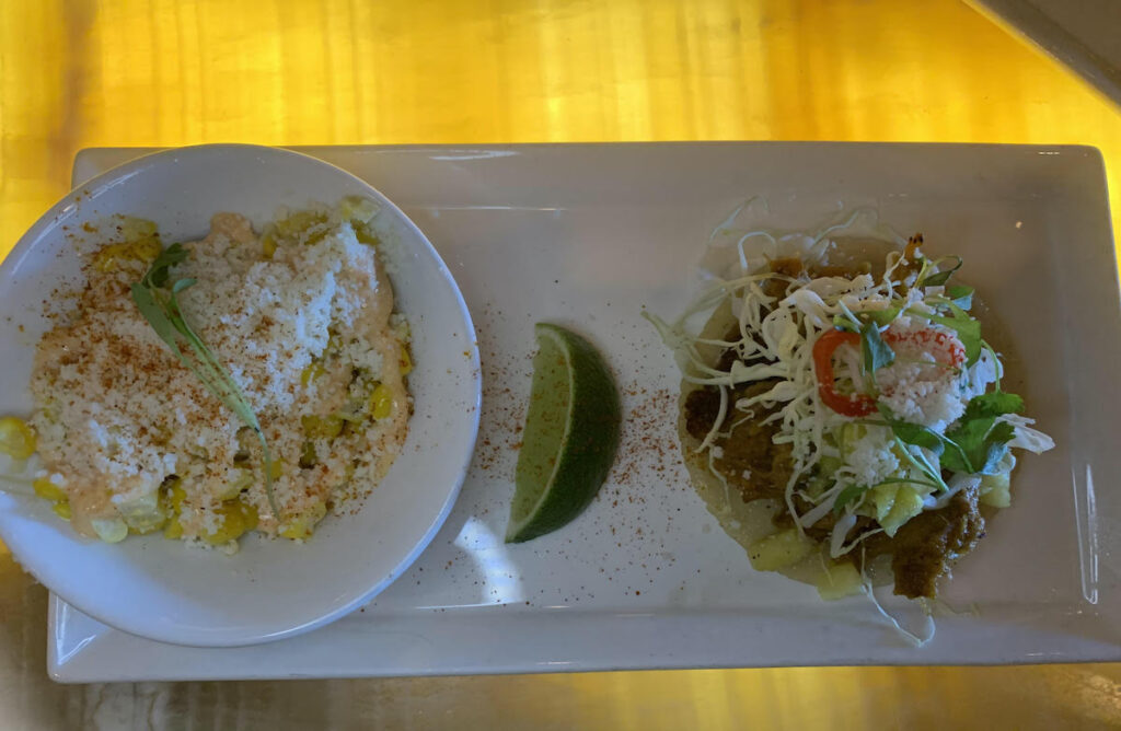 Street corn salad and taco at The Mission, Old Town Scottsdale, Arizona.