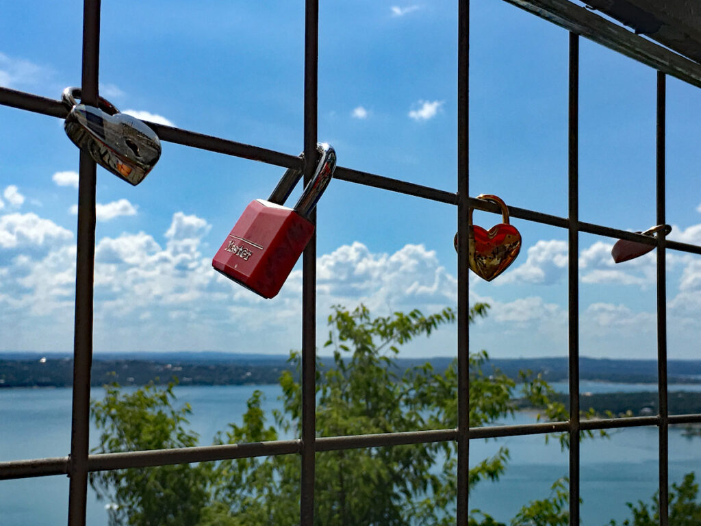 Lover's locks at The Oasis on Lake Travis.