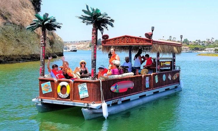 Tiki-Style Pontoon Boat For Rent In Newport Beach, California