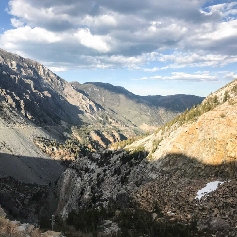 Beautiful view of mountains and Tioga Pass and Tioga Road.