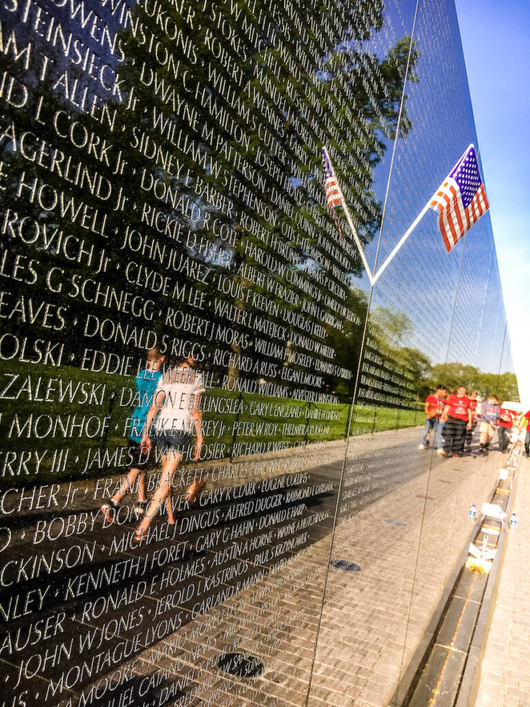 Reflections on the Vietnam Veterans Memorial on the National Mall in Washington D.C.