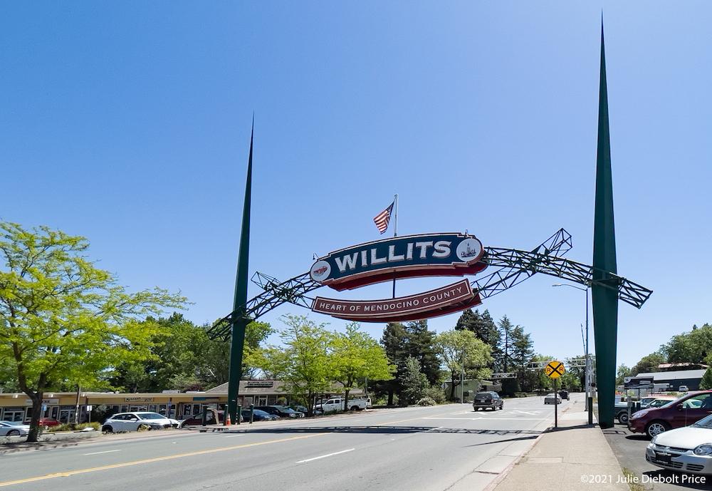 Street overhead banner sign for Willits