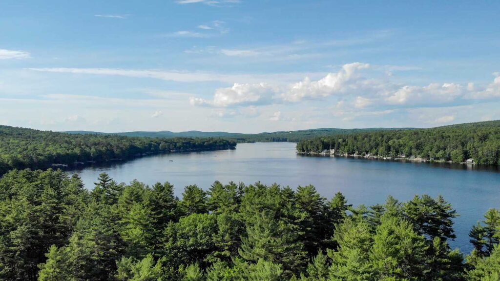 Aerial view of Yogi Bear's Jellystone Park™ Lakes Region in Milton New Hampshire
