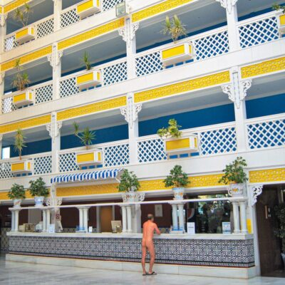 A man enjoying a naturist hotel.