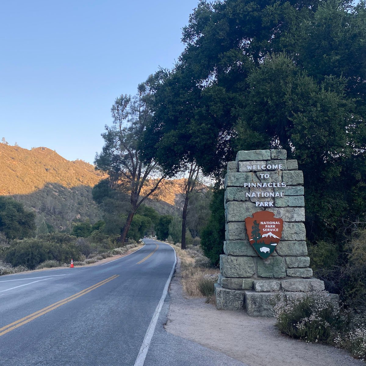 One of the entrance signs in Pinnacles National Park
