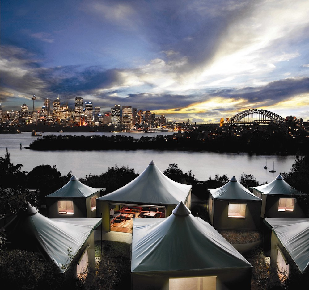 Campsite with a view, Roar and Snore, Taronga Zoo, Sydney
