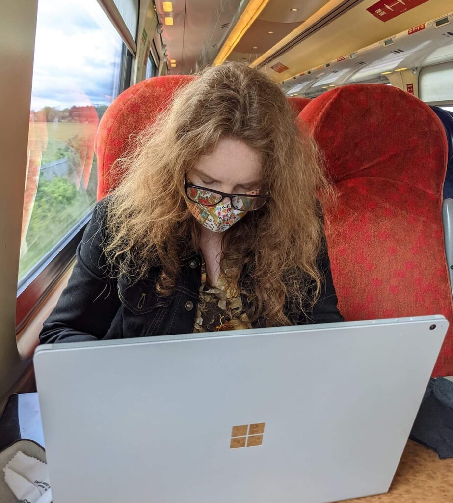 The writer on a train