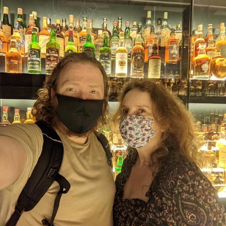The writer at a whisky bar