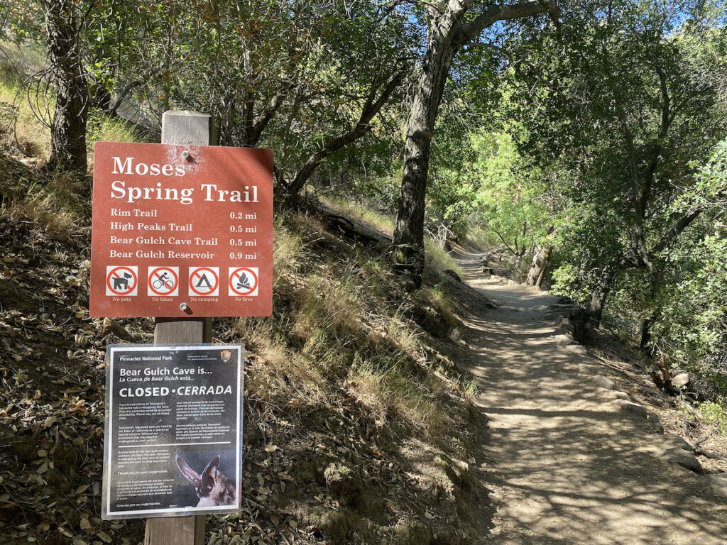 Sign for Bear Glutch Caves Trail at Pinnacles National Park.