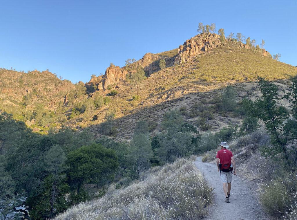 Hiking Condor Gulch Trail at Pinnacles National Park.