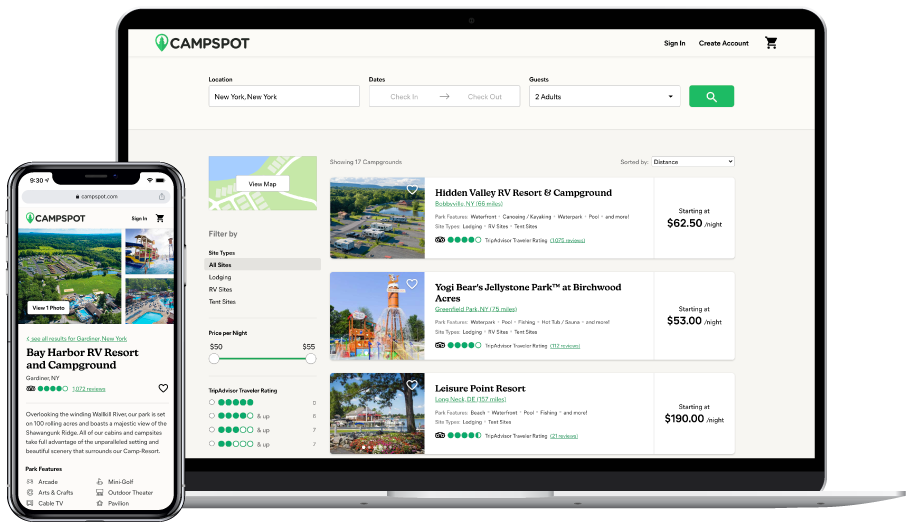 Campspot camping booking service