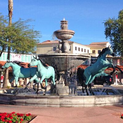 Horse fountain in Old Town, Scottsdale, Arizona.
