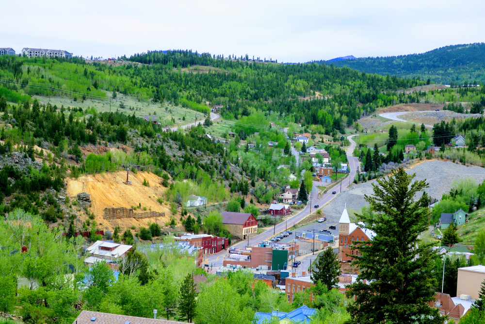 Aerial photo of Central City, Colorado.