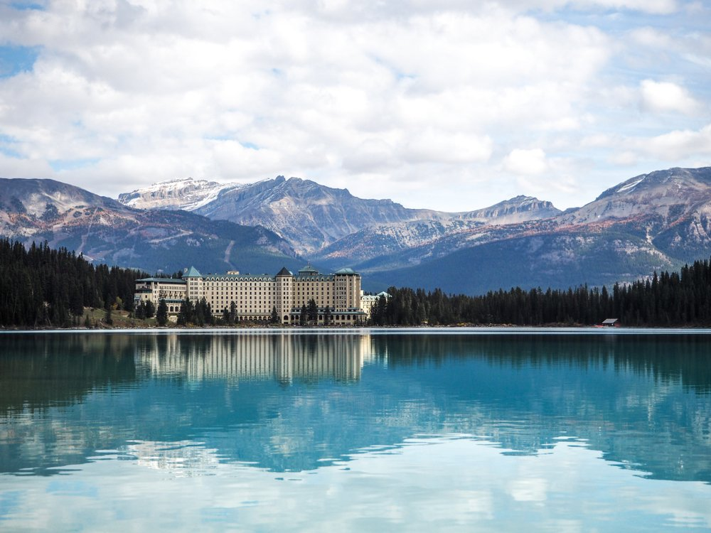 Scenic views of the Lake Louise with hotel in Banf National Park Alberta Canada