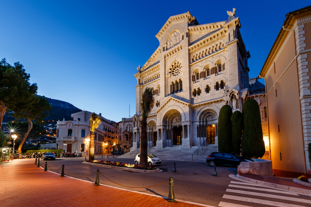 Facade of Saint Nicholas Cathedral in Monaco, Monte Carlo, France