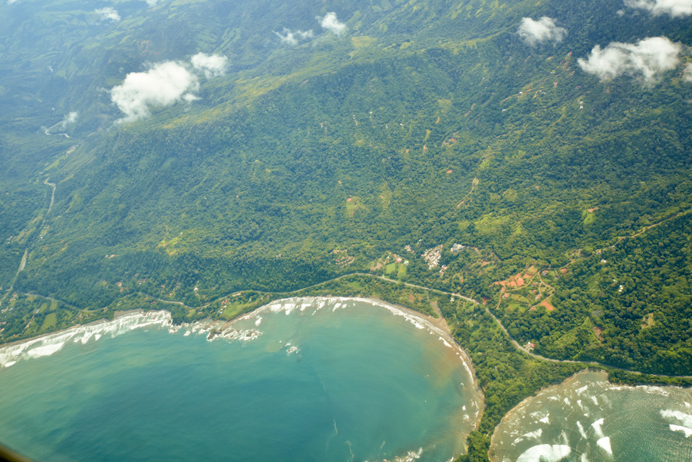 Arial photo of Costa Rican bay.