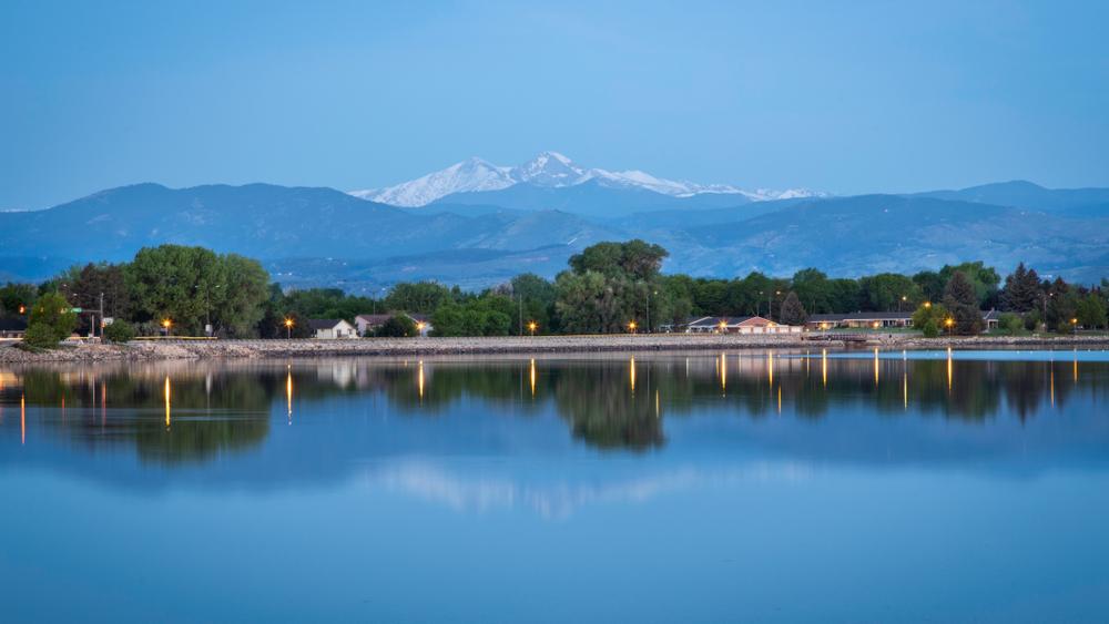 Longs Peak from Lake Loveland in Loveland, Colorado.