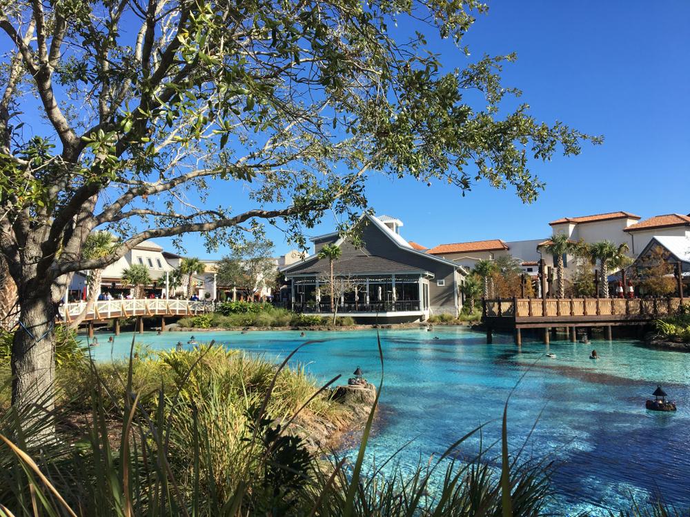 Disney Springs lake with shops