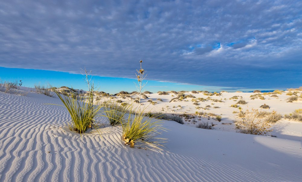 Sunset in White Sands National Park, New Mexico.
