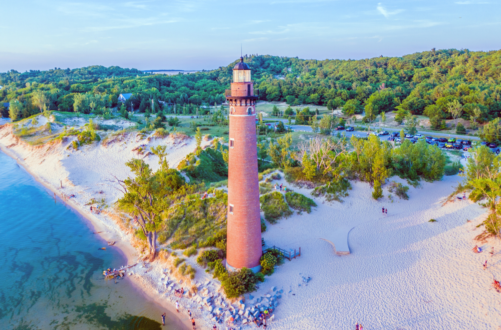 Aerial View of Little Sable Point Lighthouse, located on Lake Michigan at Silver Lake State Park near Mears, Michigan