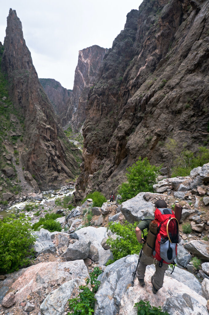 Hiking into the Black Canyon on the SOB trail.