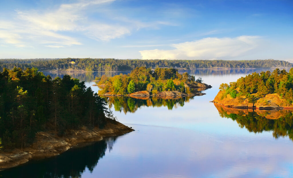 Stockholm Archipelago on the Baltic Sea in the morning
