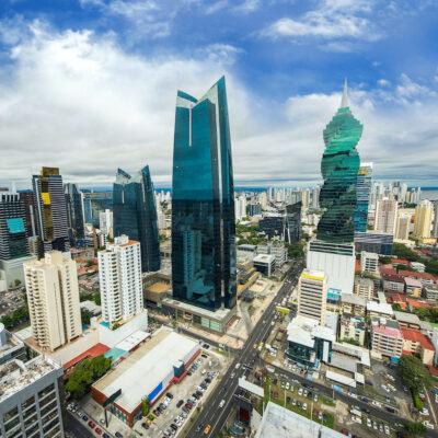 Aerial view of the modern skyline of Panama City , Panama.