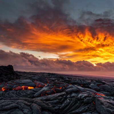Lava sunrise on the southeast rift zone of Kilauea volcano