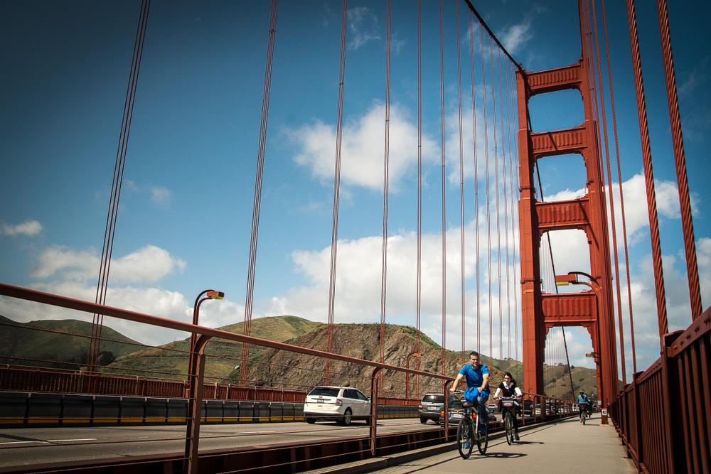 Riding bikes on the Golden Gate Bridge in San Francisco, CA.
