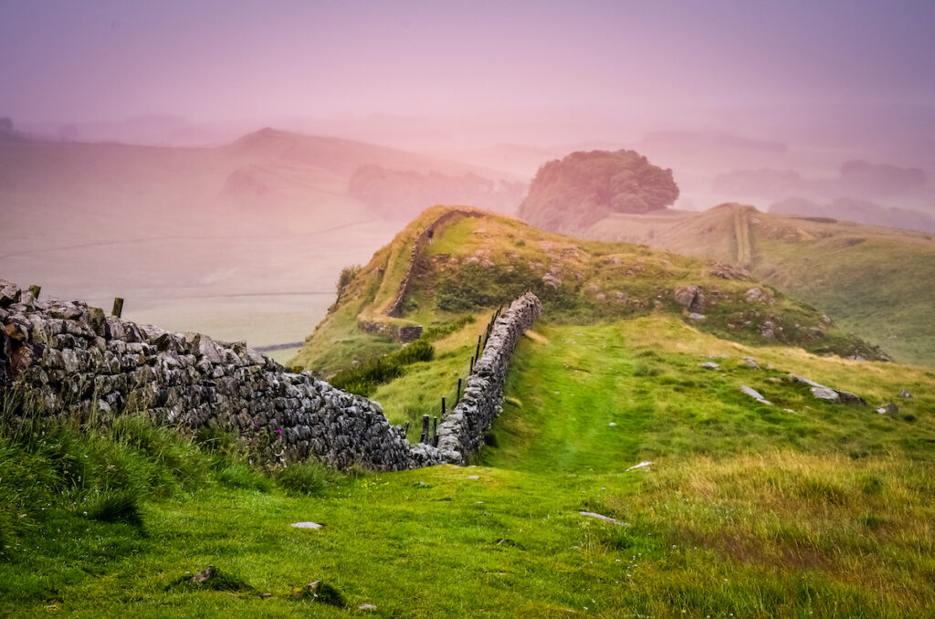 Hadrian's Wall in the mist. Northumberland County, England.