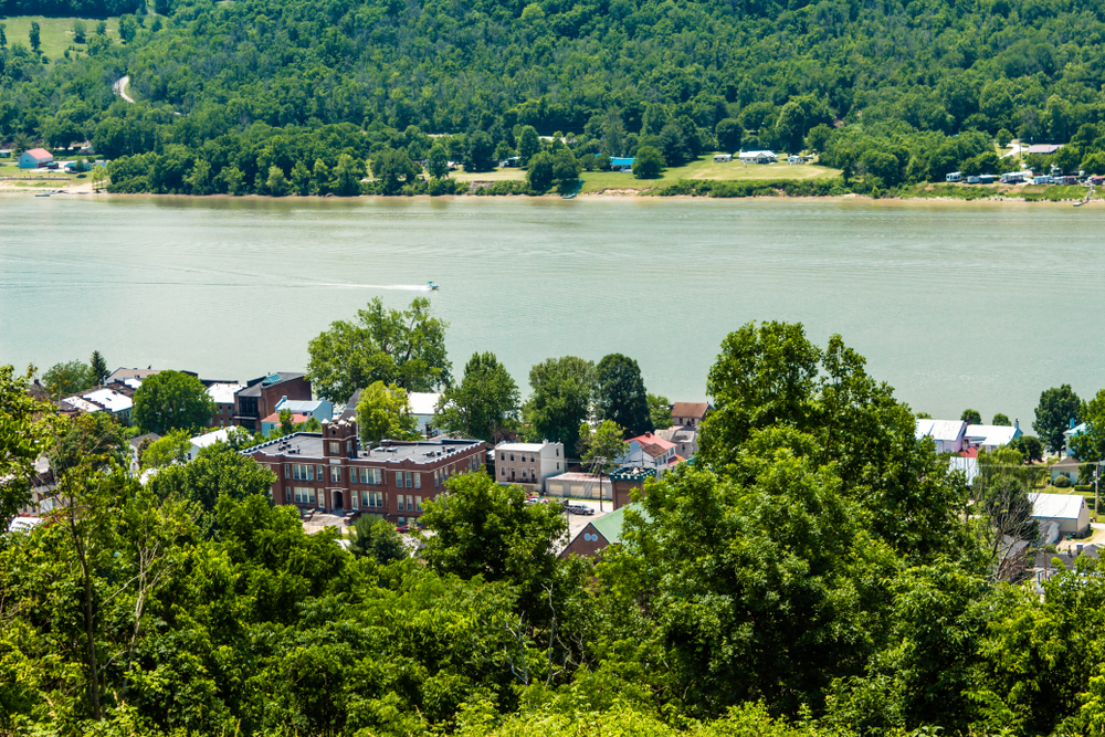 overhead view of small town Ripley, Ohio next to Ohio River