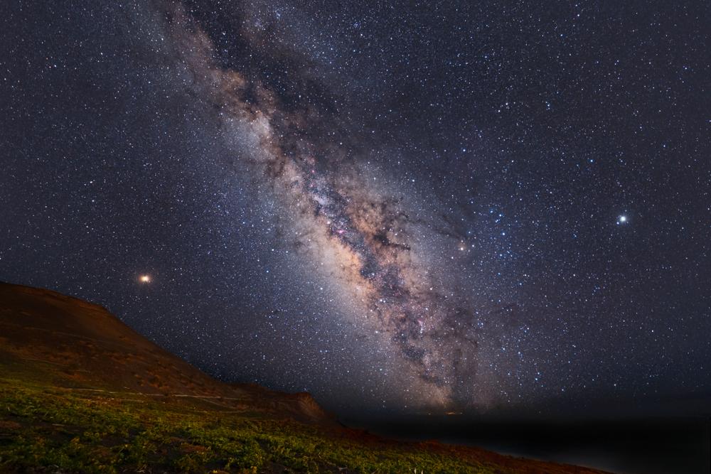 Summer Milky Way over Sant Antonio Volcano and vineyards in La Palma, Canary Islands
