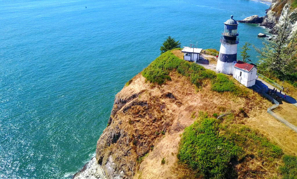 Aerial View Of Lighthouse On Cape Disappointment On Rocky Point - Washington, USA.
