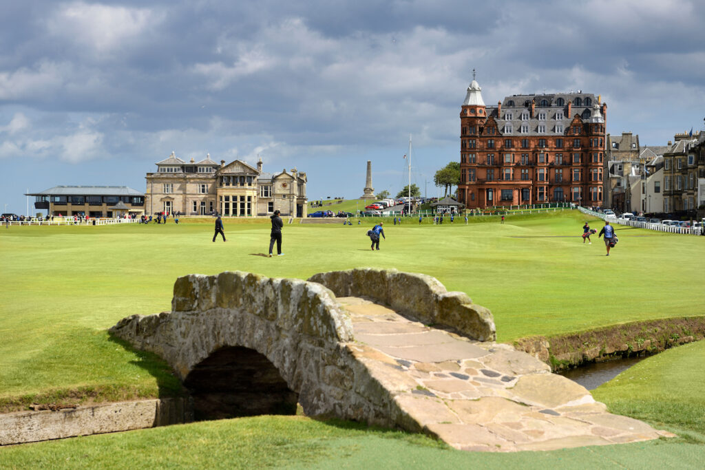 The Royal and Ancient Golf Club of St Andrews clubhouse on the 18th Hole of Old Course St Andrews Links golf course.