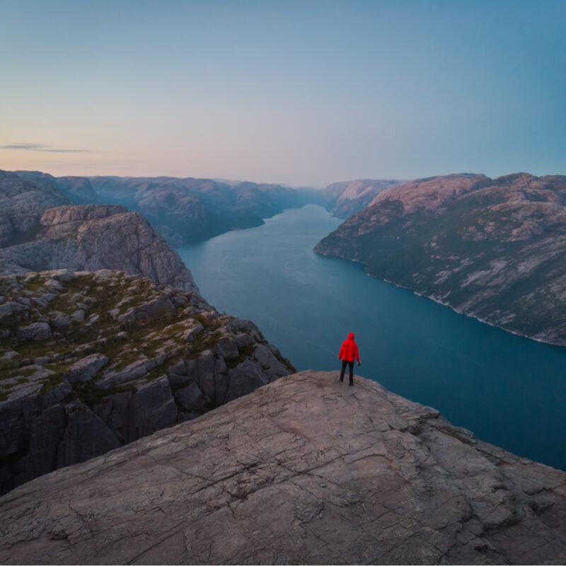 Eddie Bauer gear at Preikestolen Rock in Norway