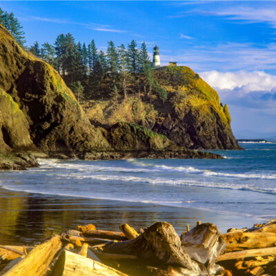 Cape Disappointment lighthouse on the Columbia River, Washington Coast.