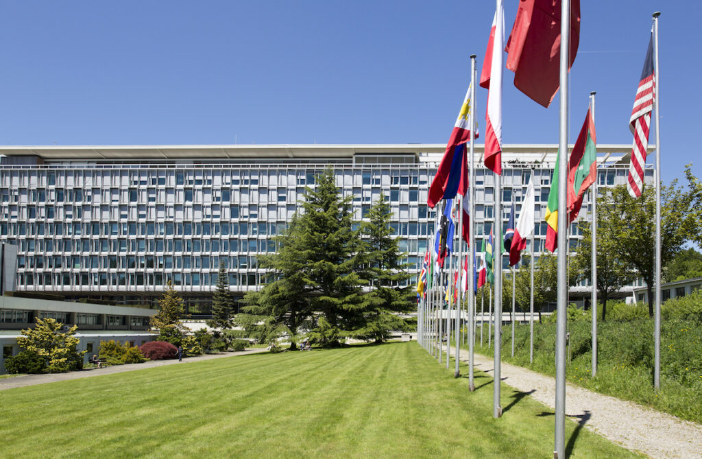 Headquarters of the World Health Organization May 14, 2013 in Geneva, Switzerland.